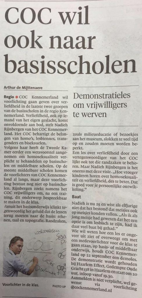 3-9-2016, Noord Hollands Dagblad